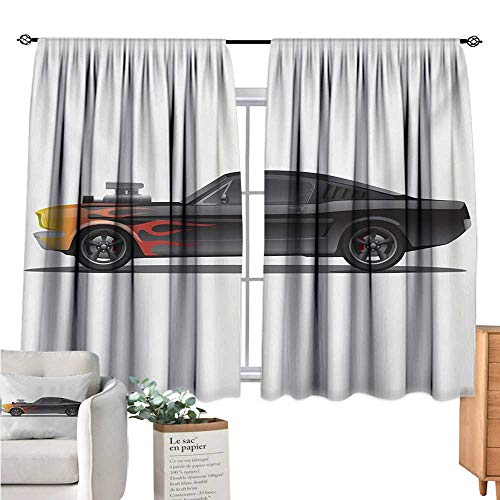 (Warm Family Cars Window Curtain 2 Panel Custom Design Muscle Car with Supercharger and Flames Roadster Retro Styled Charcoal Grey Orange Wall Curtain W63 x L63)