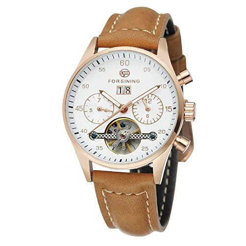 Forsining Women's Automatic Self-winding Day Calendar Leather Brand Collection Wrist Watch FSL691M3W1
