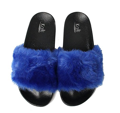 Kali Footwear Womens Flip Flop Faux Fur Soft Slide Flat Slipper Limit Royal Blue zlZt9