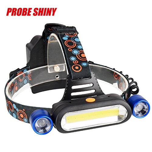 Sunsee LED Headlight Torch Flashlight, 15000LM 2X XM-L T6 LED +COB Rechargeable 18650 Headlamp Head Light Torch Lamp Tactical Flashlights for Sporting Outdoor Camping Hiking