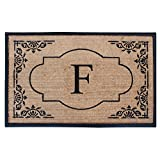 A1 Home Collections First Impression Hand Crafted Abrilina Heavy Rubber and Coir Entry Monogrammed Double Doormat, Monogrammed F