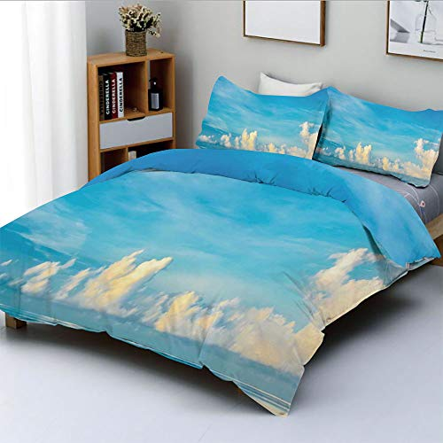 Duplex Print Duvet Cover Set Full Size,Image of Crystal Clear Sea and Cloudy Sky Over it in a Sunny Day Romantic SescapeDecorative 3 Piece Bedding Set with 2 Pillow Sham,Blue White,Best Gift for Kids