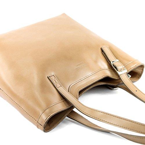 cuir femme sac main véritable Sac sac à sac italien T25 bandoulière Braunbeige à vqUw04p