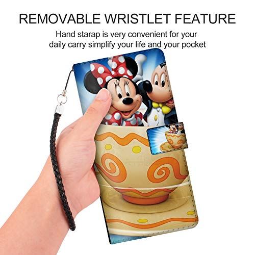 DISNEY COLLECTION Samsung Galaxy Note 9 (2018) (6.4-Inch) Leather Folio Flip Case Mickey Minnie Mouse Cartoon Pictures Cup Coffee HD Wallpapers Faddish