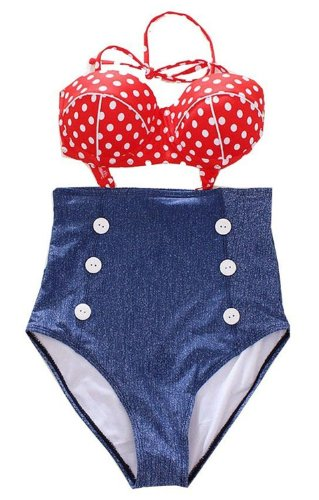 Cocoship Retro High Waist Push up Bikini Red Polka Swimsuits Bathing suit