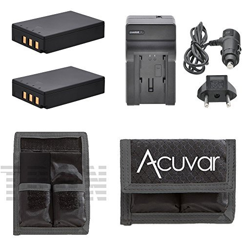 2 PS-BLS1 Li-ion Batteries for Olympus Evolt SLR + Car / Home Charger for E-400, E-410, E-420, E-450, E-620, E-P1, E-P2, E-P3, E-PL1, E-PL3, E-PM1 and Other Models.. Digital Camera + Acuvar Battery Pouch ()