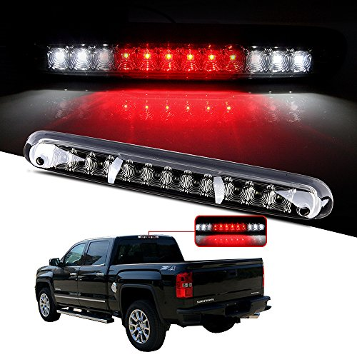 CCIYU LED 3rd Brake Lights Cargo Lamp Assembly Automotive Tail Lights Smoke Lens for 2007-2013 Chevy Silverado GMC Sierra (Chrome+ Smoke Lens)