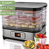 Electric Food Dehydrator Machine 250W - BPA Free Drying System With adjustable Height Nesting Tray - Professional Multi-Tier Food Preserver with 5 Nesting Tray for Meat or Beef Fruit Vegetable Dryer
