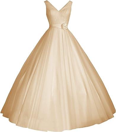 Wedding Dresses V Neck Bridal Gowns Simple A Line Tea Length Wedding Dress Bride Short At Amazon Women S Clothing Store