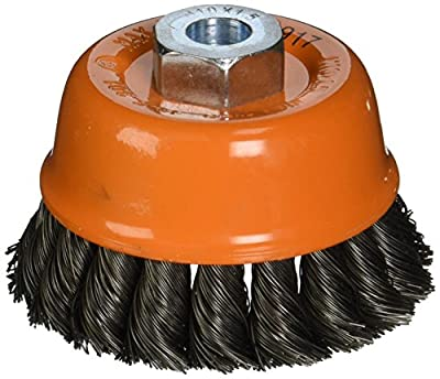 """Walter 13F301 Knot Twisted Wire Cup Brush, Threaded Hole, Carbon Steel, 3"""" Diameter, 0.015"""" Wire Diameter, M10 x 1.5 Arbor, 12000 Maximum RPM"""