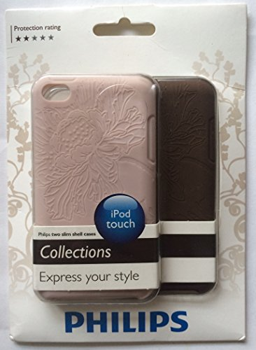 (2 Philips Brown & Dusty Rose Color Flower Graphic Style Slim Shell Silicone Cases For The iPod Touch DLA8213/17)