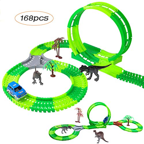 M SANMERSEN Dinosaur Toys Race Tracks for Kids, Newest 168 Pcs 360° Route Car Race Flexible Track Set Jurassic World Dinosaurs and Car Toys