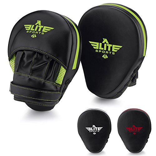 Elite Sports New Item Essential Curved Boxing, Mma, Kickboxing, Muay Thai, Sparring Punching Mitts, Green