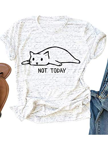 Lazy Cat Not Today T-Shirt Funny Lazy Cat Tee for Cat Lovers White -