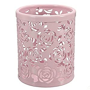 ANKKO metálico redondo hueco Flor Rose bote para lápices pluma soporte organizador