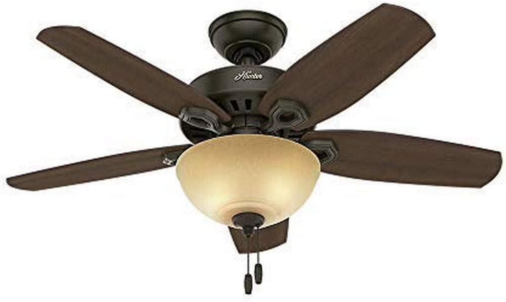 Hunter Builder Indoor Ceiling Fan with LED Light and Pull Chain Control, 42 , Pwt, Nckl, B S,