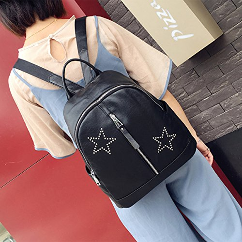 Backpack for Women - Bageek Black Backpack PU Leather Backpack Casual Backpack by Bageek (Image #1)