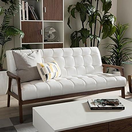 Baxton Studio Mid Century Masterpieces White Faux Leather Sofa