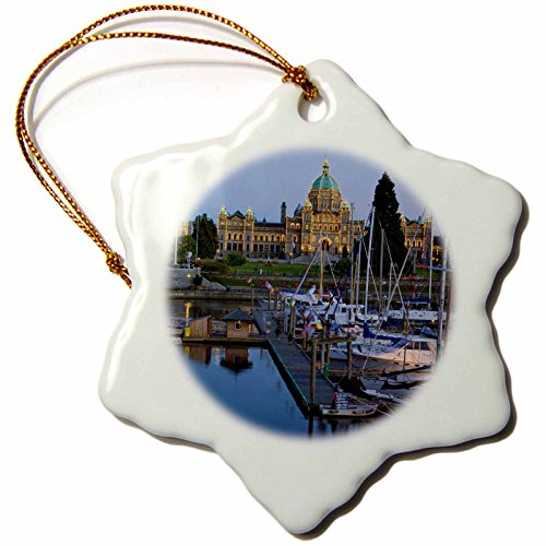 Harbour Lights Ornament - 3dRose orn_72511_1 The Inner Harbor at Victoria British Columbia-Cn02 Cha0009-Chuck Haney-Snowflake Ornament, 3-Inch, Porcelain