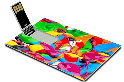 Luxlady 32GB USB Flash Drive 2.0 Memory Stick Credit Card Size Abstract acrylic colors IMAGE - Gift Card Coles
