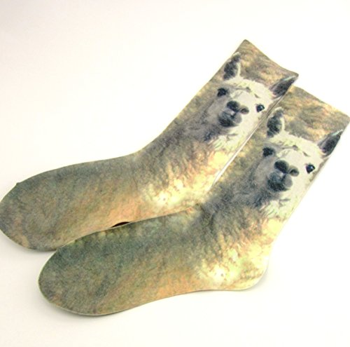 Women's Sheer Cotton Socks Fun Funky Novelty Lama Crew Socks
