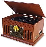 Vitrola Toca Discos de Vinil BLuetooth Stadio e Fita Cassete CD MP3 FM com Conversor Digital Arena Aria Phoeni