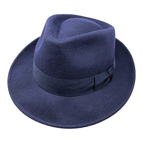 B&S Premium Doyle - Teardrop Fedora Hat - 100% Wool Felt - Crushable For Travel - Water Resistant - Unisex - Navy (Premium Tear)