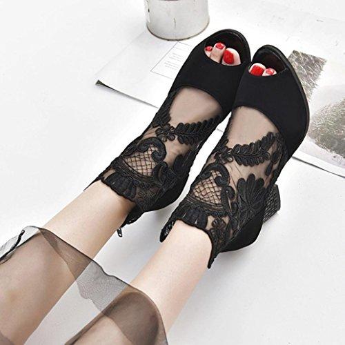 High Dentelle Été Noir Transparente Toes À Peep En Femme Bottines Carre overdose Sandales Heels Talon Chaussures qfOpwfWA