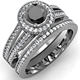1.25 Carat (ctw) Black Rhodium Plated 10K White Gold White And Black Diamond Bridal Ring Set (Size 8.5)