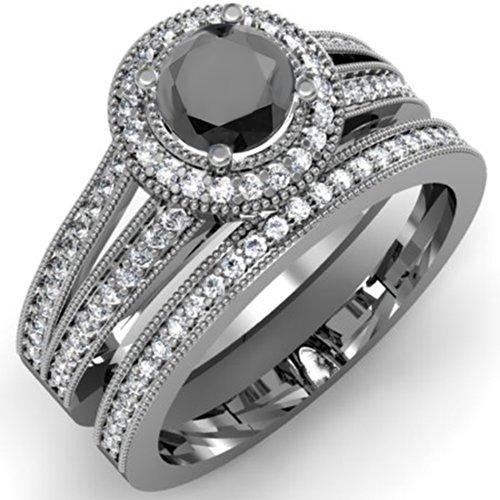 1.25 Carat (ctw) 14K White Gold White & Black Diamond Ladies Engagement Ring Set 1 1/4 CT