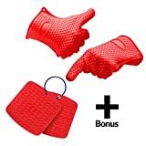 Silicone Heat Resistant Cooking, Oven Gloves for BBQ, Grilling, Baking, Potholder, + – Bonus – Hot Pads to Protect Countertops and Tables For Sale
