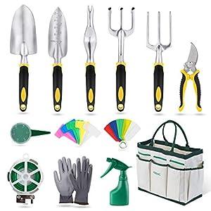 YISSVIC Herramientas de Jardín 12Pcs Kit de Jardinería Juegos de Herramientas con Organizador Bolsa 51HhJU7zkjL