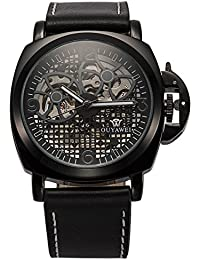 Men Mechanical Automatic Black Leather Army Sport Wrist Skeleton Watch