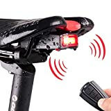 KIKBLW 4 in 1 Anti-Theft BikeRemote Control Wireless Security Alarm Taillights Lock Waterproof Bicycle lamp Accessories,Black