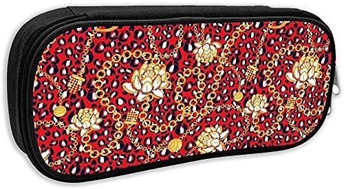 Bolso Bolso Bolso Cadenas Doradas Patrón Guepardo Leopardo Flores Audaces Estuche Rojo Estuche Estuche Estuche Maquillaje Cosmético: Amazon.es: Oficina y papelería
