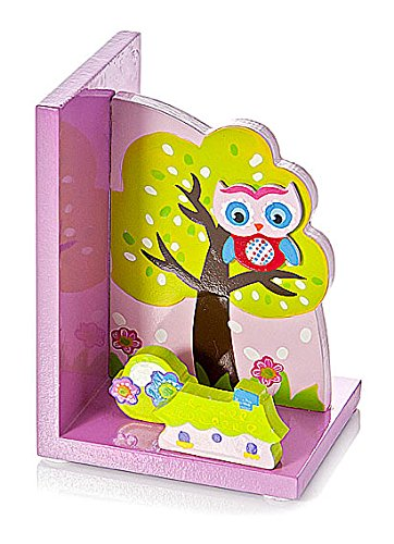 Mousehouse Gifts Wooden 3D Pink Owl Themed Childrens Bookends for Girls Nursery or Bedroom