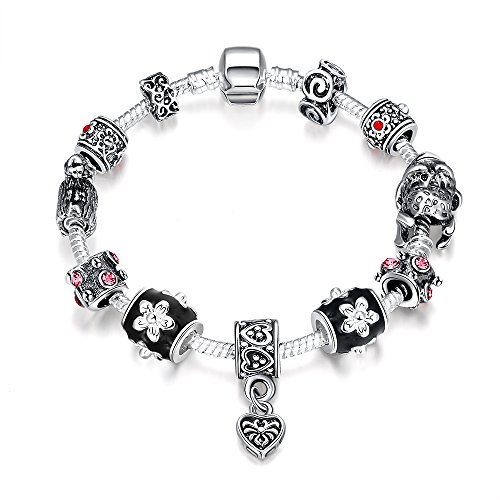 Naivo Designer Inspired Crystal Snake Chain Murano Glass Beads Charm Bracelet - Midnight Passion