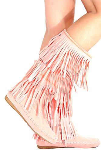 FOREVER LINK FAUX SUEDE MOCCASIN STYLE FRINGE BOOT 11 (Pink Boots)