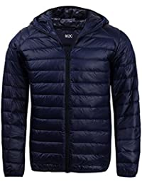 Mens Hooded Lightweight Windproof Puffer Duck Down Jacket
