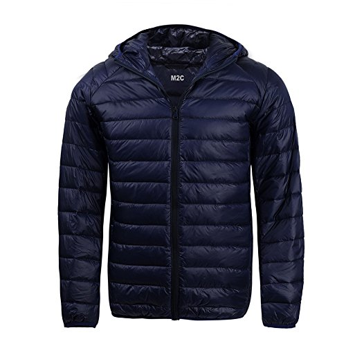 M2C Mens Hooded Lightweight Windproof Puffer Duck Down Jacket XL - Jacket Ultralight Running