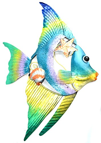 BEAUTIFUL UNIQUE colorful NAUTICAL Angel FISH METAL shell Wall ART