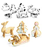 Cattrees 3D Christmas Cookie Cutters Set - 8 Piece Stainless Steel Cookie Cutters DIY Baking Tools