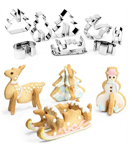 Cattrees 3D Christmas Cookie Cutters Set - 8 Piece Stainless Steel Cookie Cutters DIY Baking Tools by Cattrees