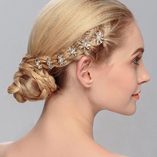 Miallo Rhinestone Hair Pins Wedding Hair Accessories in Snowflake hairpieces(6pack)