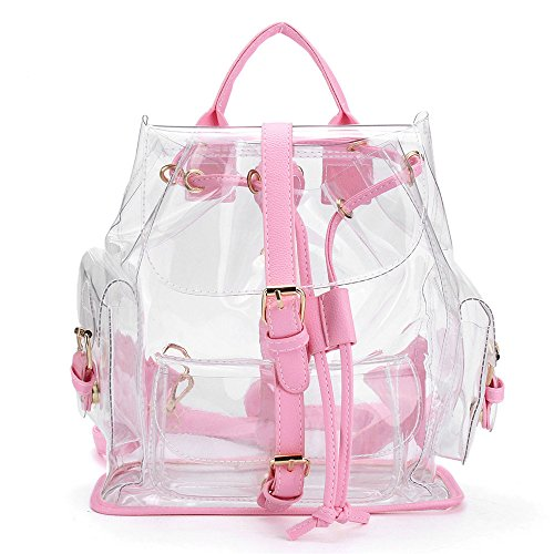 Malloom Mujeres Claro Plástico cristal Bolsa Seguridad Transparente Mochila Bolsa de viaje (Rosa) Rosa