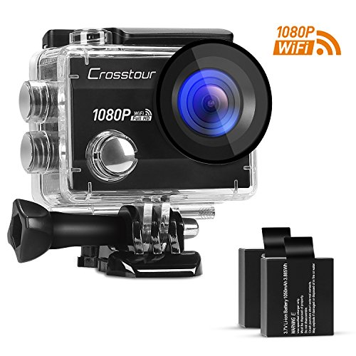 Crosstour Action Camera 1080P Full HD Wi-Fi 12MP Waterproof Cam 2″ LCD 30m Underwater 170°Wide-angle Sports Camera with 2 Rechargeable 1050mAh Batteries and Mounting Accessory Kits