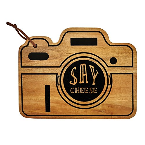 "Retro Camera Say Cheese Board - Cedar Wood Cutting Board - 9"" X 6"""