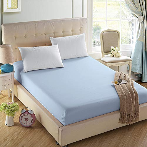 4ULIFE Bedding Fitted Sheets-Prime 1800 Series,Double Brushed Microfiber,Ultra-Soft Feel and Wrinkle,Fade Free,Deep Pocket for Oversized Mattress(Twin-XL,Light Blue)