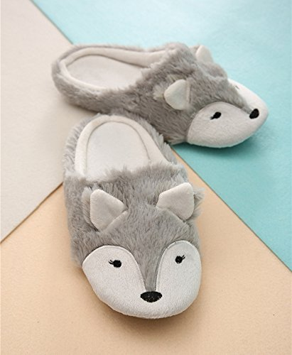 Women Ladies Winter Thermal Thick Coral Fleece Slippers Feet Warmer Cozy Comfort Antiskid Slip-On House Slippers Footwear Shoes, 3D Fox Design by Fakeface (Image #3)