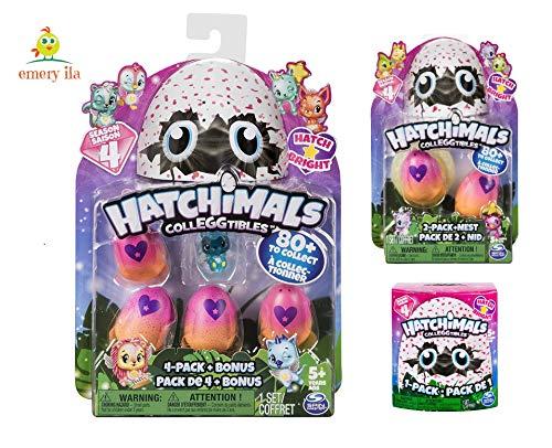 Hatchimals Colleggtibles Season 4 4-Pack + Bonus, 2-Pack + nest, 1 Blind Set (Random Assortment) Collectibles (Season 4) with Emery ila (TM) Sticker